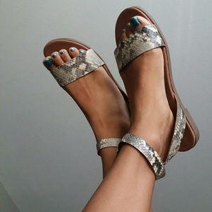 NWOT Steve Madden Ankle Strap Snakeprint Sandals